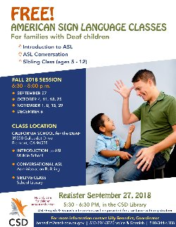 Family ASL Class (Fall) - Registration | California School for the Deaf