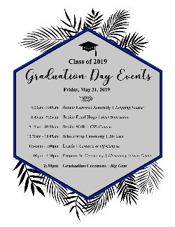 Class of 2019 - Graduation Day Events